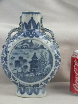 19Th C Chinese Porcelain Blue And White Landscape Moon Flask
