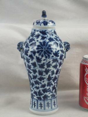 19Th C Chinese Porcelain Blue & White Lotus Flowers Vase And Cover