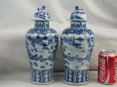 Pair 19Th C Chinese Kangxi Marks Blue & White Figures Landscape Vases & Covers