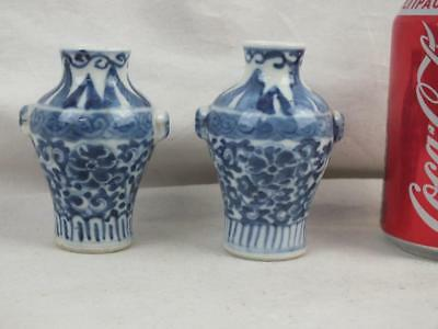 Pair 19Th C Chinese Porcelain Blue & White Mask Handles Miniature Vases