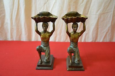 Pair Antique Bronze Bookends Men Turban Holding Shell Jewelry #1783