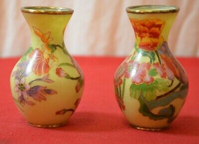 "Antique Chinese Porcelain Pair Vases 20th Cent 1920'S Yellow Floral 4"" #1783"