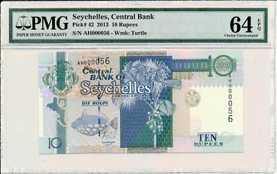 Central Bank Seychelles  10 Rupees 2013 Low S/No 000056 PMG  64EPQ