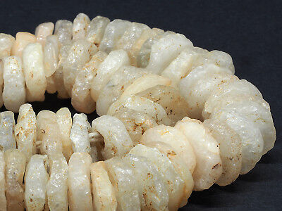 Ancient excavated quartz stone beads strand. Neolithic. West Africa