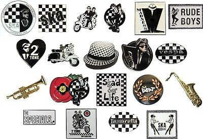 2 Tone Black & White Chequerboard Scooter Scooterist MODS SKA Music Enamel Badge