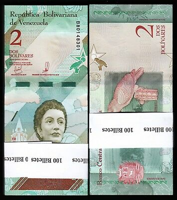Venezuela, 2 Bolivares, 2018, Unc, Bundle, Pack of 100 Pcs, Consecutive, P-New