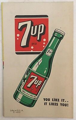 """1951 7 UP soda fold-out advertisement with drink recipes / 17"""" x 5 1/2"""""""