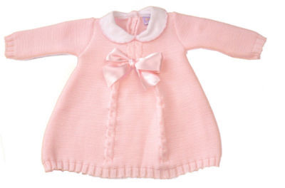 Baby girls Spanish style knitted bow dress Dizzy Daisy Pink 3-6 months BNWT