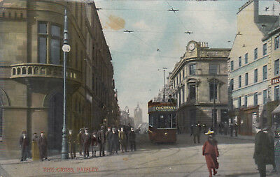 Postcard  The Cross Paisley  tram   W H & Co  1910