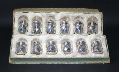 (12) VINTAGE STERLING SILVER INDIVIDUAL SALT & PEPPER SHAKERS w/ ORIGINAL BOXES