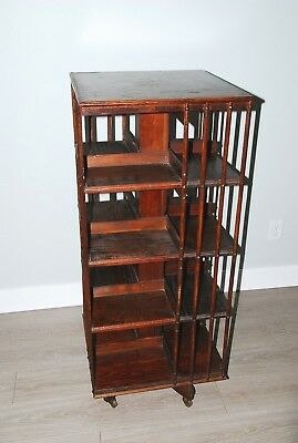 Arts & Crafts Antique English Oak Revolving Rolling Bookcase Bookshelf Library