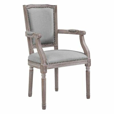 Modway Penchant Vintage French Upholstered Fabric Dining Armchair, Light Gray