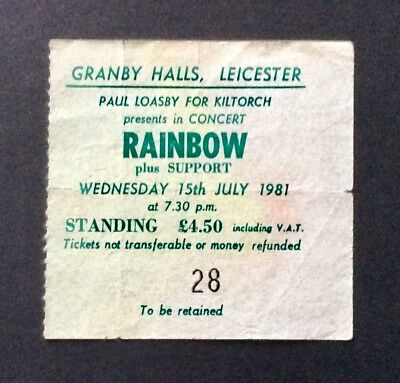 RITCHIE BLACKMORE'S RAINBOW - July 15, 1981 Used concert ticket - Leicester