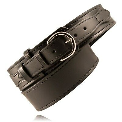 Boston Leather 6570-1-38-N Plain Black Nickel Buckle Riverside Duty Belt 38""
