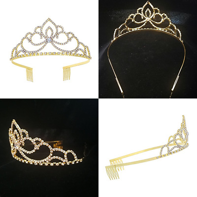 Rhinestones Crystal Wedding Bridal Prom Pageant Princess GOLD Tiara Crown Beauty