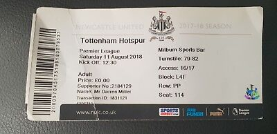 NEWCASTLE UTD v TOTTENHAM HOTSPUR 11th AUGUST 2018 USED MATCH TICKET - SPURS -