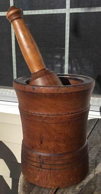 "Large Early Primitive Americana Antique Wood Mortar & Pestle 7.25""h Incise Lines"