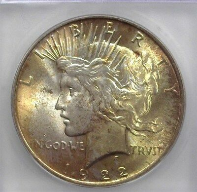 1922 Peace Silver Dollar Icg Ms64 Toned!