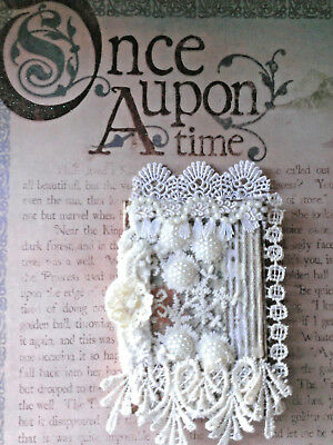 NEWaltered art mixed media lace pearls pocket journal diary vintage embellished