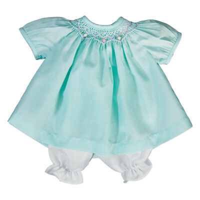"""For 15"""" Baby Doll Clothes Aqua Smocked Dress Bloomers Embroidered Flowers Bitty"""