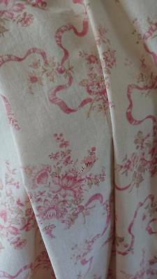 DIVINE Lge PANEL ANTIQUE FRENCH CHATEAU FADED FLORAL PRINTED COTTON FABRIC c1880