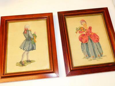 "PAIR Vintage Colonial Lady Man Couple NEEDLEPOINT PICTURES FRAMED 8.5"" x 10.5"""