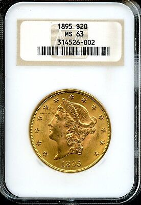 1895 $20 NGC MS 63 (MINT STATE 63) Liberty Head Double Eagle $20 Gold Coin AD591