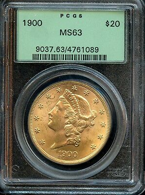 1900 $20 PCGC MS 63 (MINT STATE) Liberty Head Double Eagle $20 Gold Coin AD593