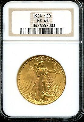1924 $20 NGC MS 64 (MINT STATE) Saint-Gaudens Double Eagle $20 Gold Coin AD595