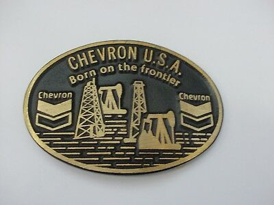 Vintage Chevron Oil Born on the Frontier Solid Brass Belt Buckle