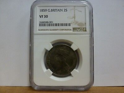 1859 Great Britain Silver Florin (Two Shilling), NGC VF-30