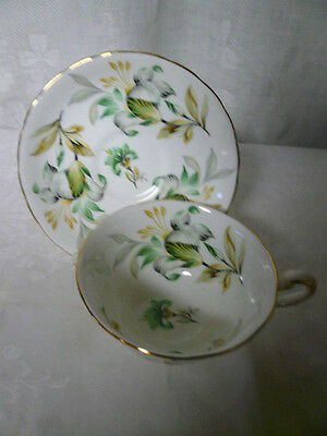 Vintage Royal Chelsea English Bone China Cup & Saucer Green Gold