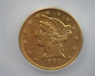 1868 Liberty Head $5   Icg Au58  Lists For  $7000  Less Than 100 Known!