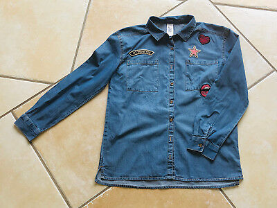 """Jeans-Hemd/Jeans-Bluse """"C&A here+there"""" Gr. 158/164, mit Stoffstickern, TOP"""