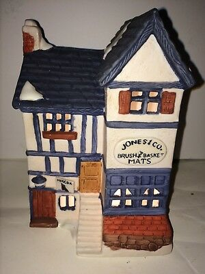 Dept 56 Dickens Christmas Village Jones & Co Brush And Basket Mats lighted house