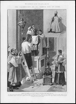 1902 Antique Print - ITALY Rome St Peters Day Celebration Bronze Statue (327)