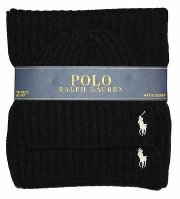 NWT MEN'S Polo Ralph Lauren Black wool blend knit winter Hat and Scarf Set