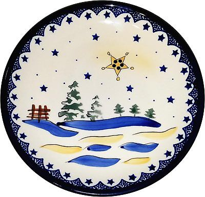"Boleslawiec Polish Pottery Christmas Breakfast, Salad or Dessert Plate ""Silent N"