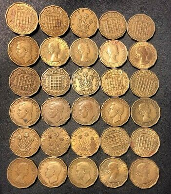 Vintage Great Britain Coin Lot! 1937-1967 - 3 PENCE - 30 Excellent Coins - #J21