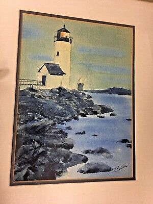 Water Color Painting Seascape Lighthouse Canadian Coast