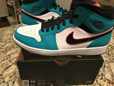 92aeb4df4a1b59 New Nike Air Jordan 1 3 4 Mid South Beach Turbo Green Hyper Pink 852542 306