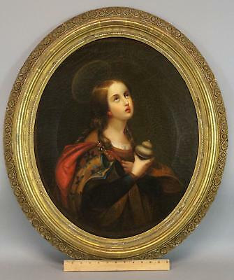 Antique MARY MAGDALENE Religious Portrait Oil Painting, Carlo Dolci Old Master