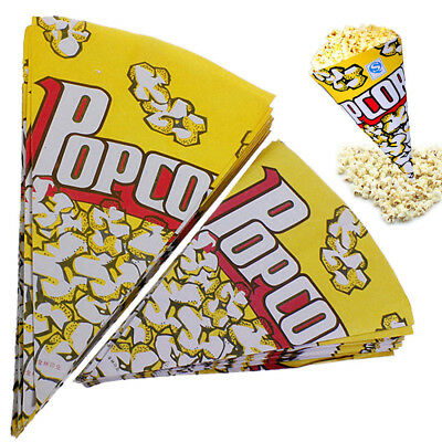 UK 100pcs Cone Popcorn Paper Pack Bags Container Movie Party Cookie Supply Bags
