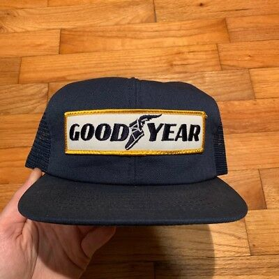 40039abb VINTAGE 1980s GOODYEAR TIRES SWINGSTER USA MADE PATCH MEN'S TRUCKER  SNAPBACK HAT
