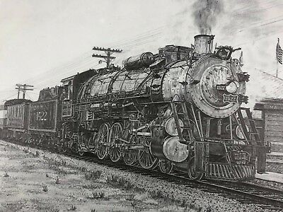 STEAM LOCOMOTIVE TRAIN Print 17 5x23 - Hand Drawing