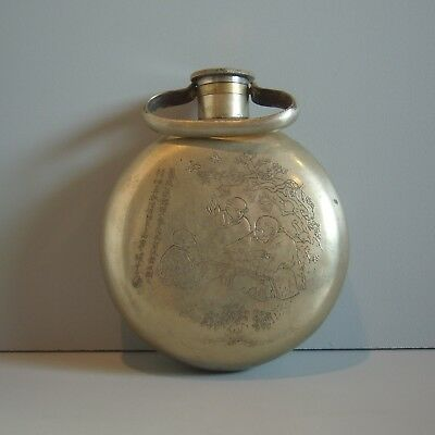 Asian Antique Engraved Metal Silver Liquor Flask Signed Chinese Japanese Bottle