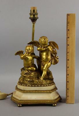 Antique 19thC Dore Gold Gilt Bronze Cherub Cupid Valentine Sculpture-Lamp