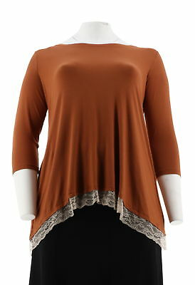 LOGO by Lori Goldstein Color-Block Top Lace Hem Sienna Sandstone L NEW A285349