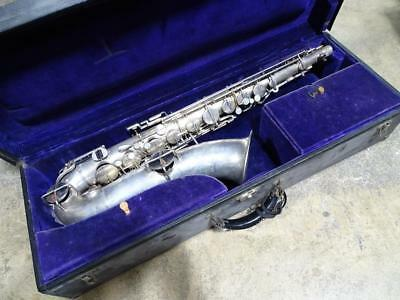 Vtg Buescher Silver Plated Tenor Saxophone Elkhart IN Professional Antique Sax
