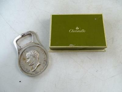Vintage Christofle Silver Plated Napoleon Medallion France Bottle Opener w/ Box